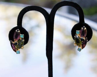 Rhinestone Earrings with Multicolored Stones - Juliana Style, 1950s