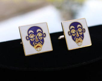 Swank Tiki or Tribal Cuff Links in Blue and White Enamel