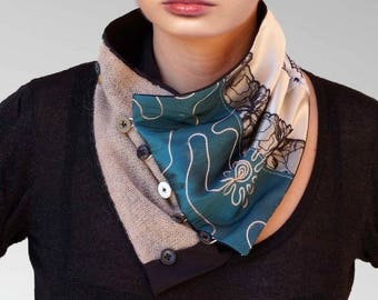Scarves, collars scarf silk, cotton, lace, satin and wool, decorative buttons