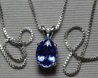 Tanzanite Necklace, Certified 1.71 Carat Genuine Tanzanite Pendant, Oval Cut, Sterling Silver, Real Genuine Natural Blue Tanzanite