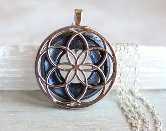 heather seed of life necklace, sacred geometry, spiritual jewelry, meditation jewelry, chakra necklace, yoga jewelry, unique gift