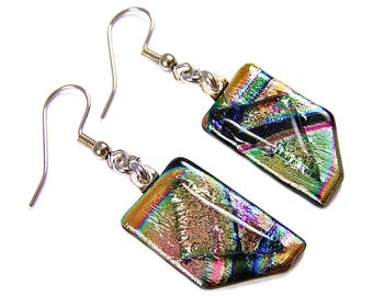 """Dichroic Dangle Earrings - Gold Blue Teal Green Orange Prism Rainbow Striped Patterned Tie Dye Dichro - 1/2"""" x 1"""" - Surgical Dangles"""