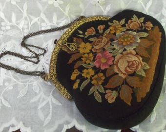Vintage Handbag   Floral Petit Point