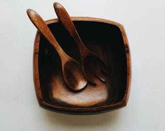 Square Wooden Serving Bowl with Utensils - Mid Century Modern Farmhouse Kitchen Decor - Large Wood Bowl