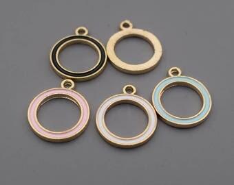 Enamel Geometry Charms-16Pcs Enamel Lake Blue Black White Pink Geometry Round Circle Charms, Hot Summer Charm Jewelry Supplies C8531