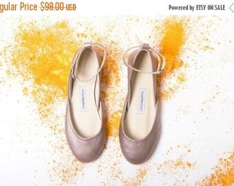 Dusty Rose | Metallic Blush Ballet Flats | Ballet Slippers | Leather Ballet Flats | Bridal Ballerina Flats |  Dark Rose Gold