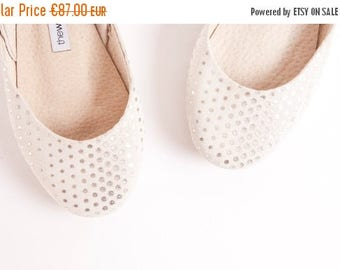 Summer Sale Silver Dots Sparkly Ballet Flats | Shiny Leather Ballerinas | Bridal Flat Shoes in Glitter Dots | Silver Dotty| LAST PAIR 37|  R