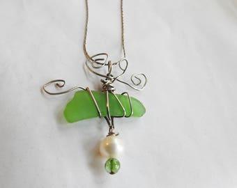 Hawaii Sea Glass Necklace, Sterling Silver Wrapped Seaglass, Genuine Sea Glass Jewelry, Pearl, Tourmaline, Unique Beachglass Necklace, Art