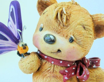 Bear and butterfly - OOAK Polymer clay sculpture by Stacy Lynn Flum