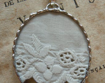Fiona & The Fig -  Antique Victorian Eyelet Lace Charm -  Necklace - Pendant - Jewelry