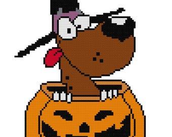 Peek-A-Boo Pumpkin Dog Cross Stitch Pattwer