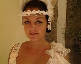 20%OFF wedding bridal vintage grecian photoshoot bohemian head band feathers,roses,'diamante' chain FREE SHIPPING ..