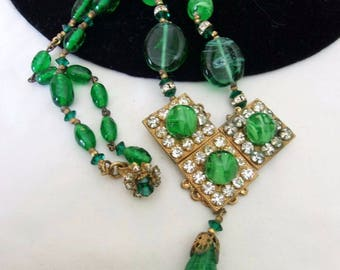 MIRIAM HASKELL Designer Pendant Geometric Necklace Green Glass Bead Rhinestone Gold Plate