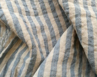 Pure  linen fabric with blue, and beige stripes--Natural--Fine--Linen