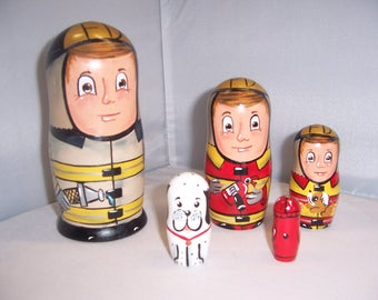 Hand painted Fireman Collection stacking nesting doll set