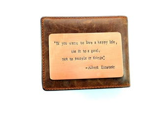 Wallet Insert Card, Copper, Einstein, Anniversary Gift, Husband Gift, Boyfriend Gift, Wife Gift, Girlfriend Gift, Aluminum, Bronze