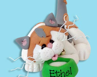 Ethel - The Calico KITTY CAT HANDMADE Polymer Clay Personalized Christmas Ornament - Limited Edition