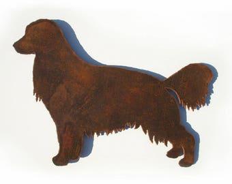 "Golden Retriever dog metal wall art - 12"" wide - silhouette wall hanging symbol steel rust"