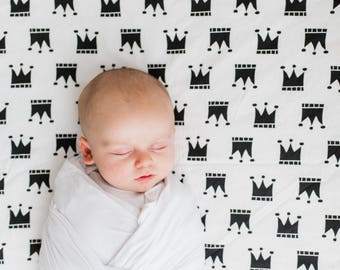 CROWNS  crib sheet, black crib sheet, fitted crib sheet , monochrome , black and white baby bedding, baby shower gift