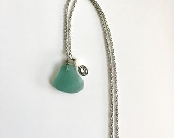 Teal Sea glass diffuser necklace