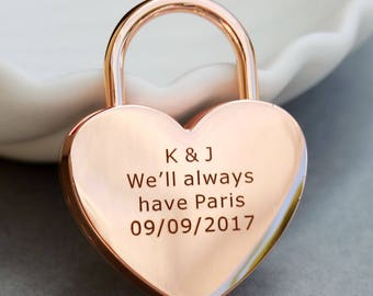 Love Lock, Heart Lock, Custom Lock, Rose Gold Heart Love Padlock With Key, Engraved Lock Lock, Personalized Padlock