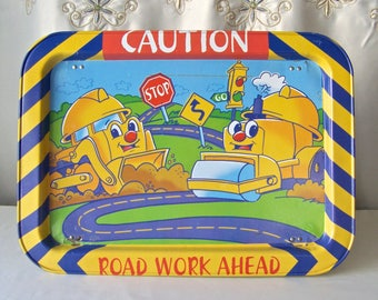 Vintage Childs TV Tray Lap Tray Folding Tray Toy Bull Dozer Road Work Ahead Childs Metal Tray 1970s