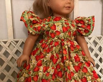 Strawberry Sundress for American Girl Doll and Most 18 Inch Dolls