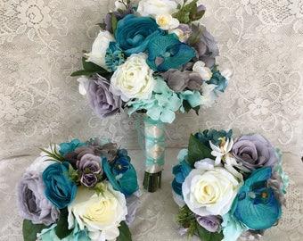 Wedding bouquet,Turqouise bouquet,Tropical bridal bouquet,Beach wedding,Orchid bouquet,Wedding accessory,Teal bouquet,Tropical flowers