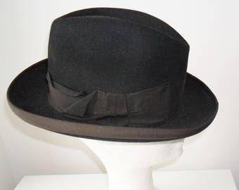1950s Black Homburg Hat Dunn & Co Men/Women (small)