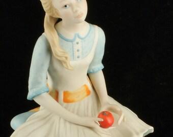 """Vintage Cybis Pollyanna 1971 Children to Cherish Porcelain Figurine 7""""  Apple"""