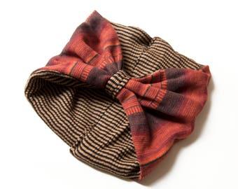 wool HEADBAND- orange and mostard with stripes