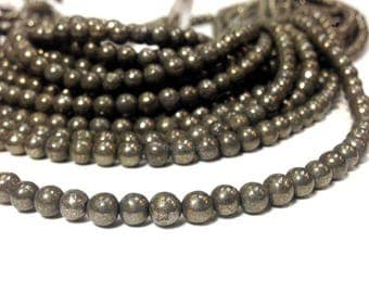 Natural Ancient Pyrite Smooth Round Beads 4 6 8 or 10 MM. Fool's Gold Stone - Healing Gemstone - Ship within 24 Hr. from USA (G3057BR11)