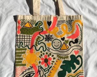Tote Bag / Handpainted Cotton Bag by Sam Pletcher / 15 inches By 15 inches