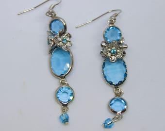 Medium Blue Glass and Silver Earrings