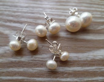 Pearl stud earrings 5-6mm White Ivory Freshwater Pearls and 925 Sterling Silver UK made