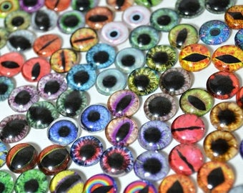 SALE Glass Eye Overstock Wholesale Lot 40 Cabochons in Random Designs - Choose Size 6mm 8mm 10mm 16mm 25mm 30mm - For Taxidermy or Jewelry M