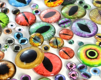 SALE Glass Eye Overstock Wholesale Lot 20 Cabochons in Random Designs - Choose Size 6mm 8mm 10mm 16mm 25mm 30mm - For Taxidermy or Jewelry M