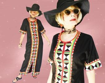 Abaya Maxi Dress Is a 60s Vintage Abaya, a Loose Fit Maxi Dress, Resortwear Caftan, Jalabiya, Kaftan Abaya, Resort Loungewear Black