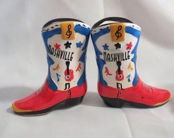 Vintage Nashville Souvenier Cowboy Boot Salt and Pepper Shakers