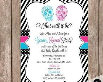 Sugar skull invitation, Gender Reveal Invitation, Baby Reveal Invite, Gender Reveal Baby Shower Invitation, sugar skulls, pink, blue, black