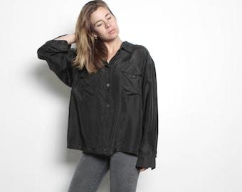 black SILK women's oversize OXFORD spring norm core sheer shirt
