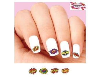 Waterslide Nail Decals Set of 20 - Comic Strip Sound Effects Pow, Bam, Kaboom, Boom, Zap Assorted