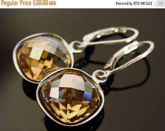 Swarovski Crystal Golden Shadow Sterling Silver Leverback Earrings