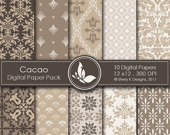 40% off Cacao Paper Pack - 10 Printable Digital papers - 12 x12 - 300 DPI