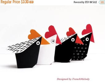 CHICKEN DECOR - 4 little red Hens Paper Craft Kit- Diy- Paper Toy - Birthday Party- Favor- PRINTABLE pdf-Hens party - Holidays ornament