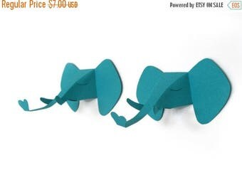 set of 2 faux elephant head, faux taxidermy , greeting card, turquoise