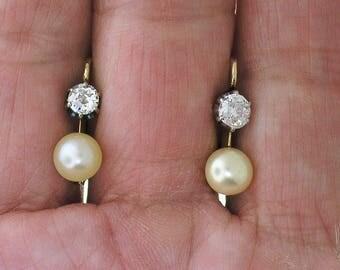 ANTIQUE DIAMOND and PEARL Earrings~Victorian Diamond & Pearl Drop Earrings Circa 1880