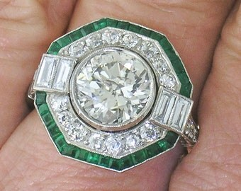 Diamond ENGAGEMENT RING~2.10ct European Diamond Ring with Emerald Accents