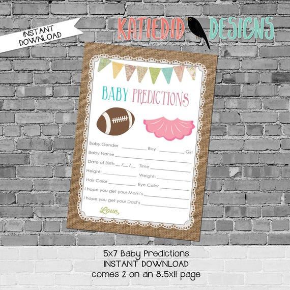 baby shower games printable baby predictions stats advice 1431 burlap lace banner rustic digital gender sprinkle rustic chic football tutu