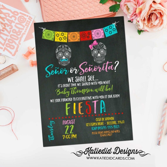 he or she gender reveal invitation | Fiesta baby shower | co-ed baby shower | senor or senorita | diaper wipe brunch | 1460 Katiedid Designs